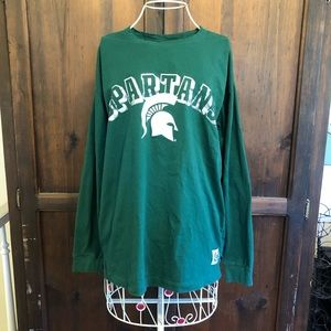 Pink Victoria's Secret MSU Long Sleeve T Shirt